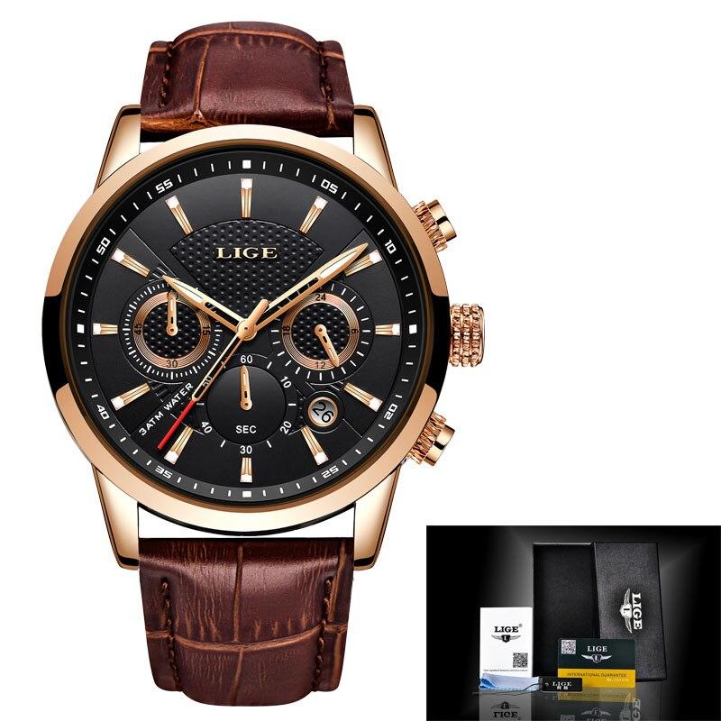 LIGE New Mens Watches Silicone Waterproof Watch Men Top Brand Luxury Military Sport Clock Quartz Wristwatch Relogio Masculino