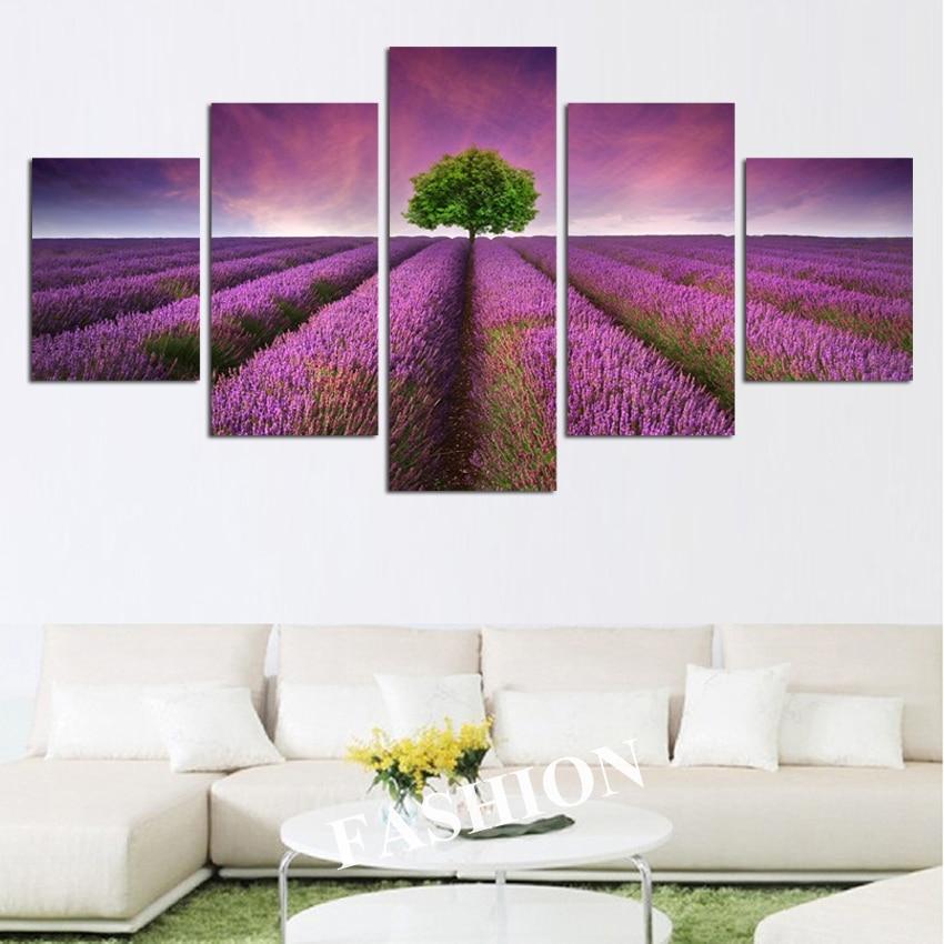 NO okvir 5pcs Provansa sivka modularne slike cvetje platno slikarstvo - Dekor za dom - Fotografija 3