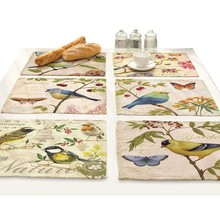 Tree Flower Bird Printed Mat Drink Coasters Dining Table Accessories Dish Pad Home Decoration Modern Kitchen