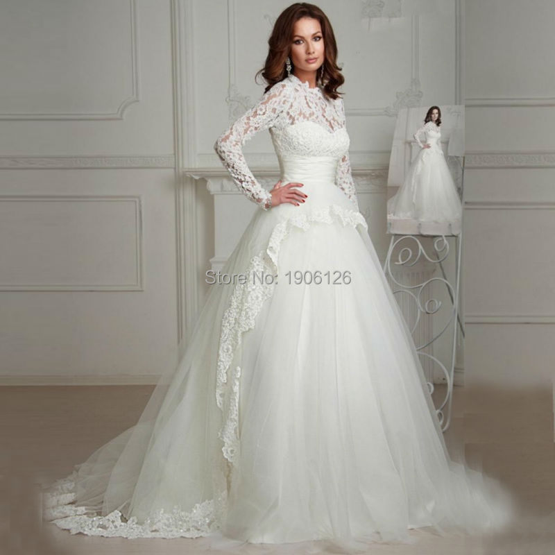 Popular White Lace Long Sleeve Winter Wedding Dresses-Buy Cheap ...