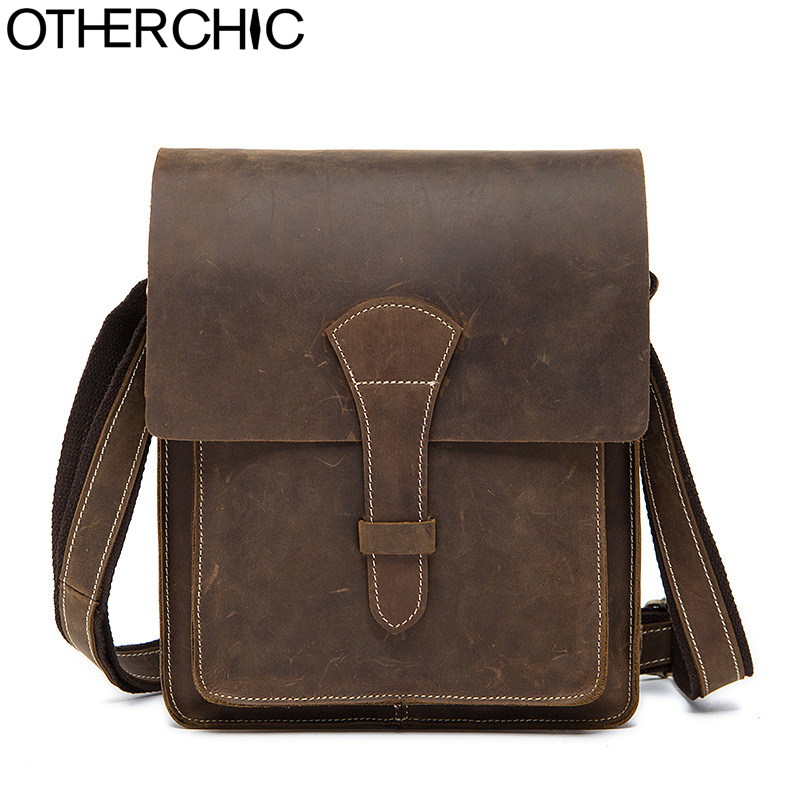OTHERCHIC Brand Genuine Crazy Horse Leather Shoulder Bags High Quality Bag Men Crossbody Bags Handbags for Men Messenger 7N06-09 2016 hot sell new crazy horse leather men bags famous design brand shoulder bag men messenger bags for men crossbody bag 6053