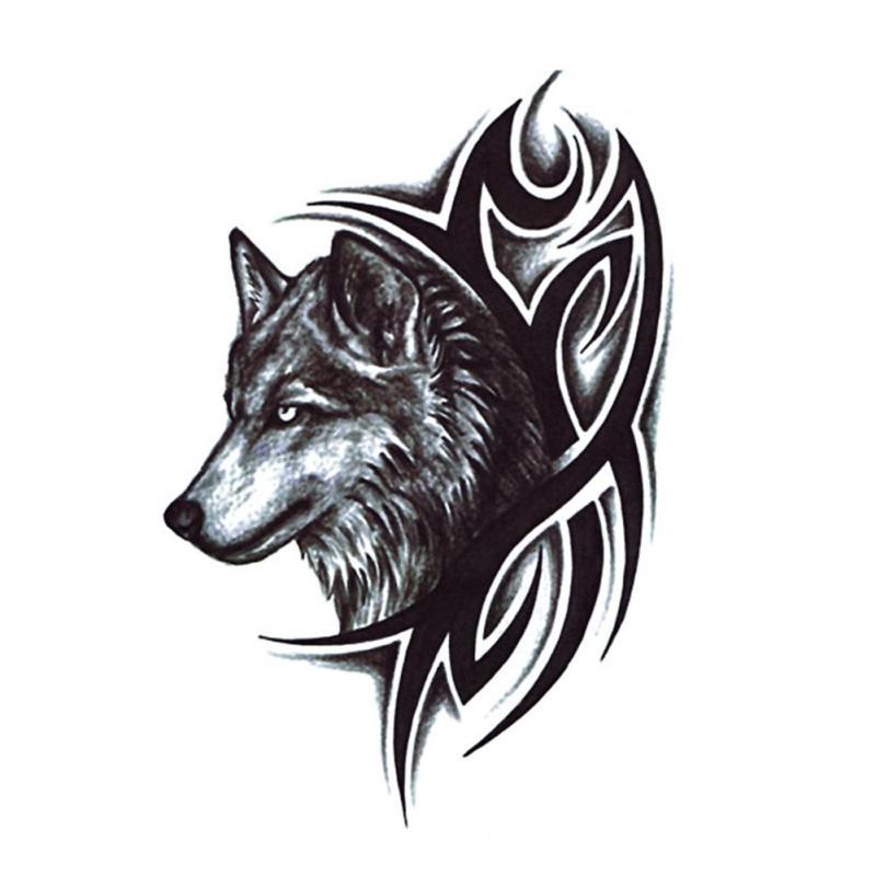 2 teile los wassertransfer wolf tattoo aufkleber wasserdicht temporare tatowierung manner frauen arm korper wolf tattoo aufkleber b4