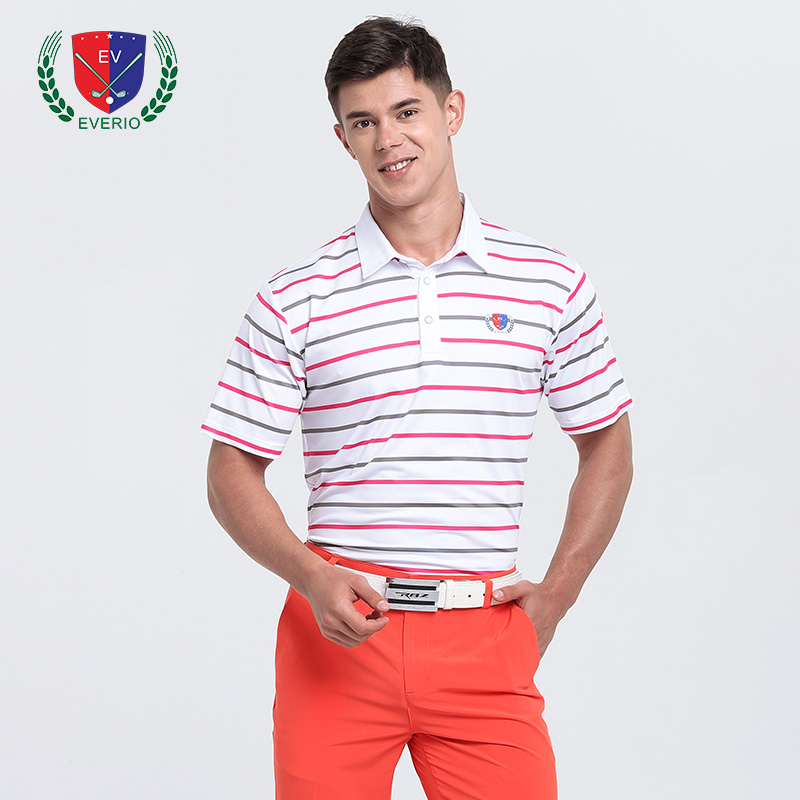 Mens Golf T-shirt Summer Men Stripe Golf POLO Shirt Quick-drying Tops Breathable Perspiration Sports Short-sleeved Sportswear