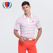 Men's Golf T-shirt Summer Men Stripe Golf POLO Shirt Quick-drying Tops Breathable Perspiration Sports Short-sleeved Sportswear