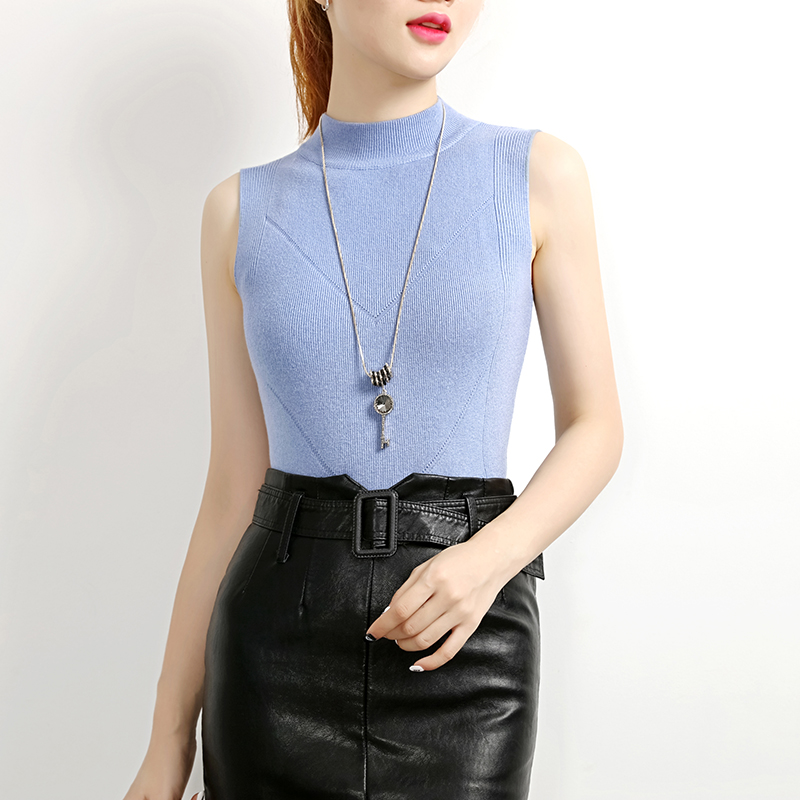Image 3 - 2020 New Half High Collar Tank Tops Female Summer Fashion Solid Women Hight Quality Blue Gray Black White Knitted Tops SexyTank Tops   -