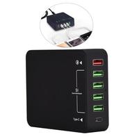 6-Puerto 60W tipo-C USB estación de carga cargador Hub de pared rápido estación de carga con Carga rápida de Qualcomm 3,0 y Tipo C