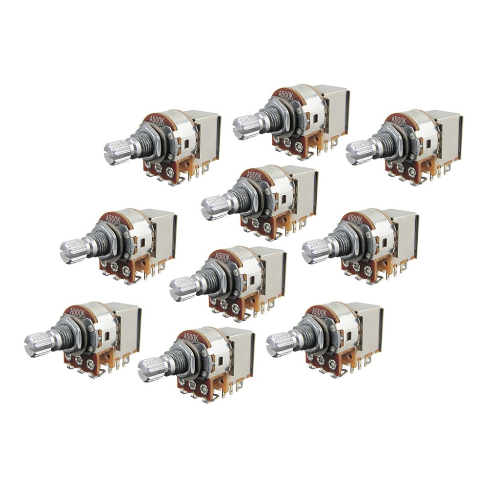 medium resolution of 10pcs electric guitar bass pots push pull switch potentiometer a500k long split shaft 18mm volume tone control pots