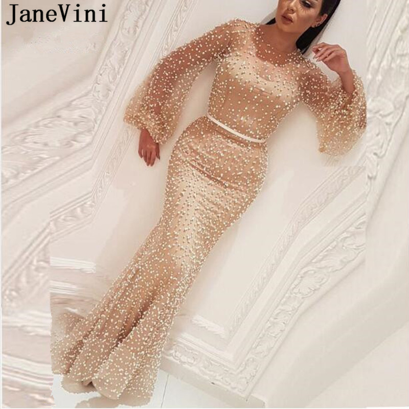 JaneVini Sexy arabe Champagne longue robe moyen-orient luxe lourd perles manches longues Ilusion sirène Tulle robes Gala Jurken