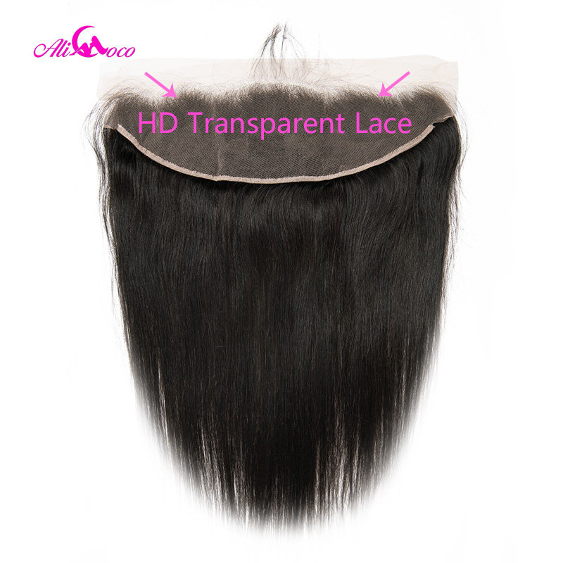 Ali Coco Straight HD Transparent Lace Frontal 8-24 Inch Natural Color 13X4 Ear To Ear Lace Frontal Closure 100% Remy Human Hair