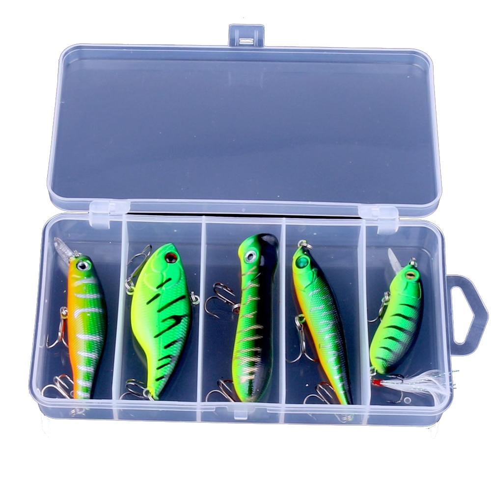 5 st Green Popper CRANK VIB Pencil Minnow Fishing Lure Bait - Fiske