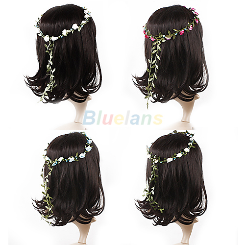 Boho Lady Girl Floral Flower Festival Wedding Garland Forehead Hair Head Band 3SKW