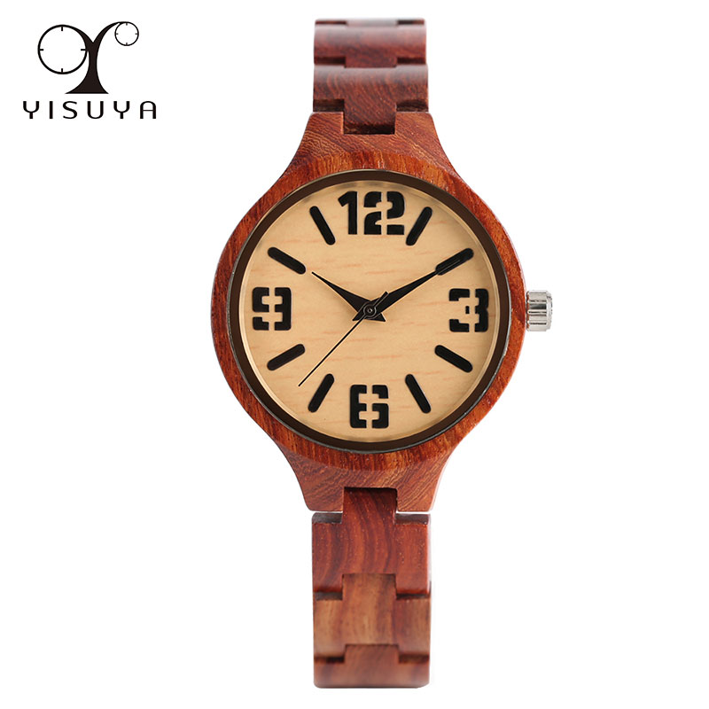 Wrist Watch Novel Simple Bamboo Women Elegant Bangle Bracelet Clasp Handmade Ladies Quartz Trendy Creative Nature Wood Watches yisuya creative fashion full bamboo triangular quartz wrist watch men simple unique novel analog hollow bangle nature wood clock
