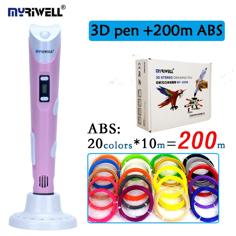 цена Original myriwell 3D pen RP-100B 2nd generation add 200 meters abs with EU/AU/UK/US adapter kid diy drawing pen christmas gifts