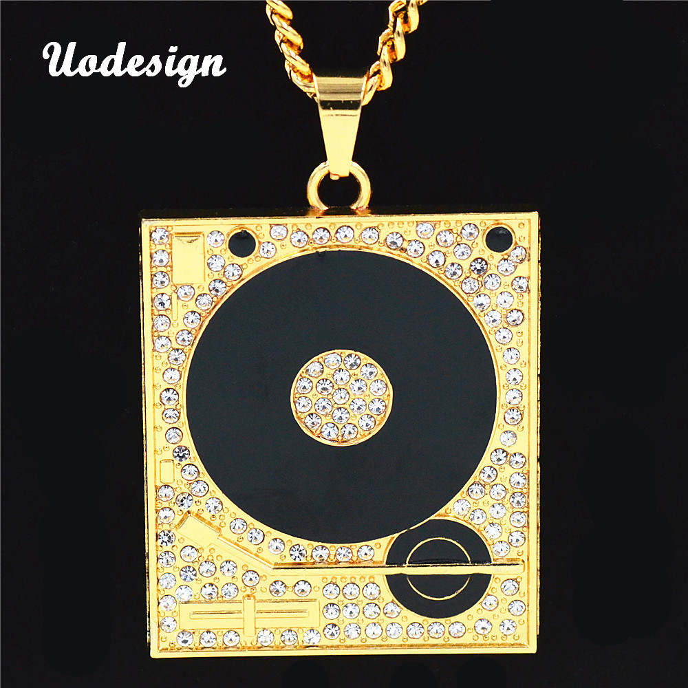 Uodesign DJ Phonograph Big Pendant Necklace Men Jewelry Hiphop Chain Gold Color Music Hip Hop Rock Rap Necklaces Mens Jewellery