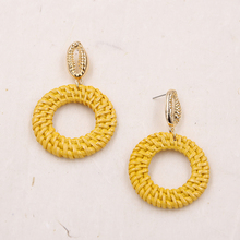 Natural Wicker Rattan Earrings Yellow/pink Color Shell Drop Handmade Straw Woven Bohemian Earing Pendientes Grandes