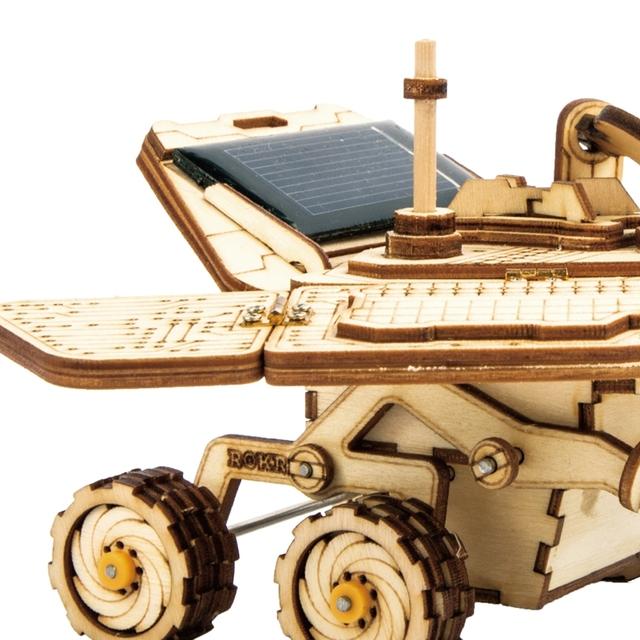 Robotime Moveable Spirit Rover Solar Energy Toy 3D DIY Laser Cutting Wooden Model Building Kit Gift for Children Adult LS503
