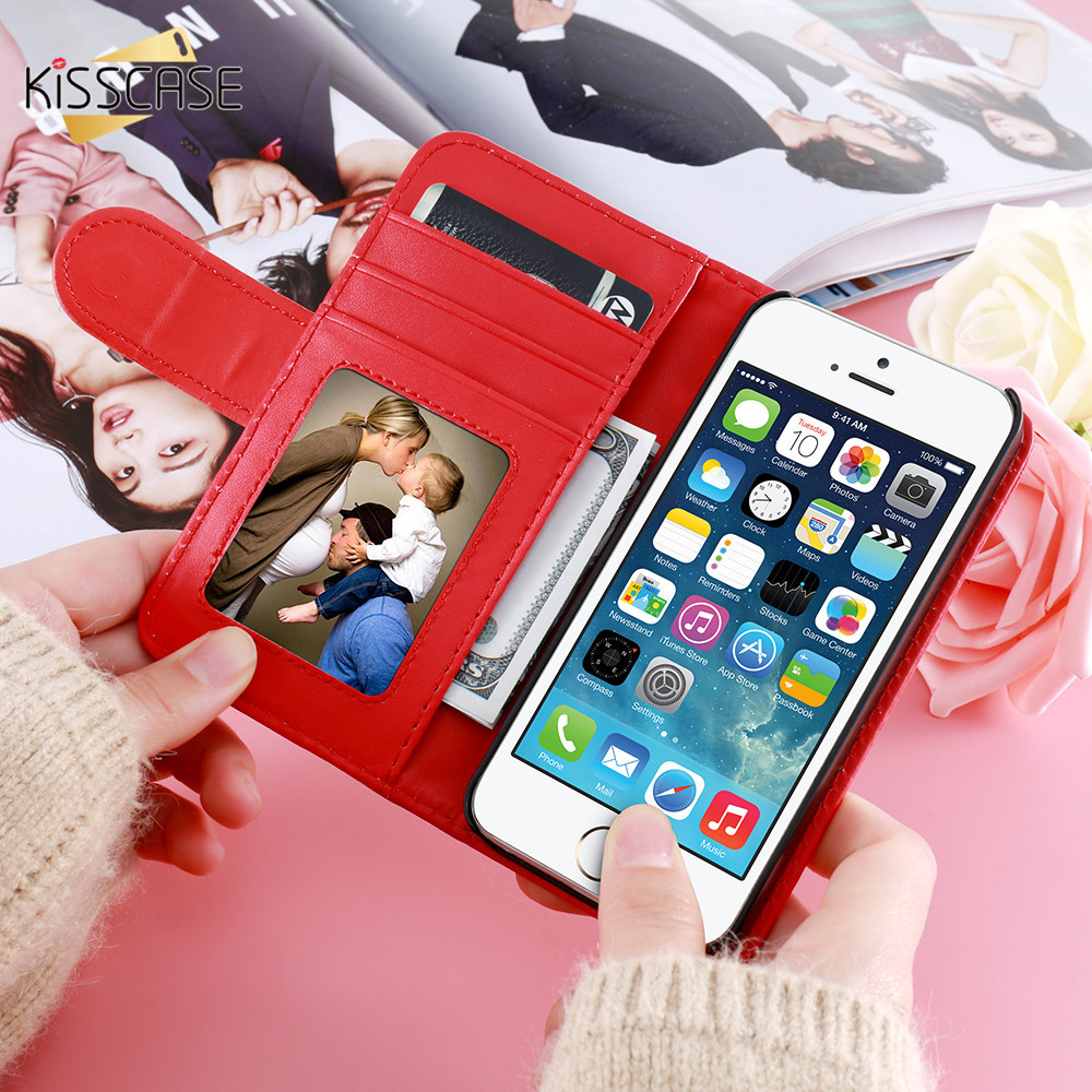 KISSCASE For iPhone 4S Leather Cases Card Slot Stand Wallet Case For iPhone 4 4S 4G Photo Frame Flip Phone Cover For iPhone 4 4S
