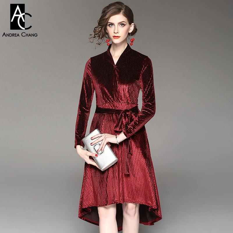 94d39ae3ebb Printemps automne femme robe noir carré dot motif vin rouge velours robe  avec ceinture asymétrique longueur au genou coton mélanges robe dans Robes  de Mode ...