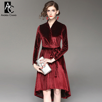 spring autumn woman dress black square dot pattern wine red velvet dress with belt asymmetric knee length cotton blends dress