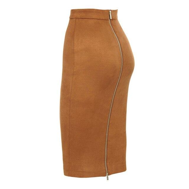 ih Women High Waist Suede Bodycon Midi Skirts Faux Leather Zipper Pencil Skirt Office Lady Elegant Wear 2019 Spring New Fashion 5