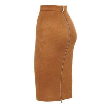ih Women High Waist Suede Bodycon Midi Skirts Faux Leather Zipper Pencil Skirt Office Lady Elegant Wear 2019 Spring New Fashion 8