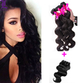 Hair with Closure Brazilian Virgin Hair Body Wave Lace Closure With Bundles Unprocessed Human Hair Weave Extensions 7A Bulk Hair