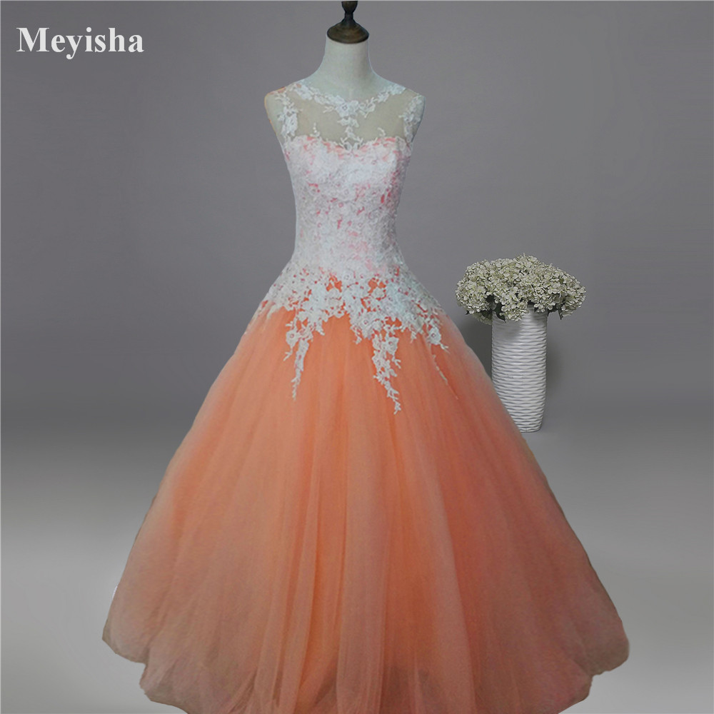 ZJ9036-C 2017 New White Ivory Champagne Pink Orange Silver Lace Wedding Dress For Brides Plus Size Maxi Formal Gown Size 2-26