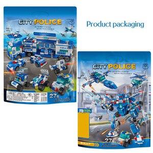 Image 4 - Городской полицейский участок автомобиль полицейский Робот строительные блоки кирпичи развивающие игрушки для детей Совместимые спецназ военные