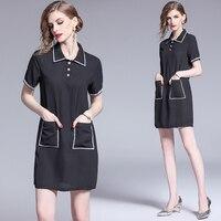 make black short sleeve lapel with brick dress star s socialite small wind Hepburn delicate black skirt