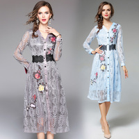 Spring Long Sleeve Vintage Dress Emboridery A Line Female Streetwear Elegant Ladies Party Dress Lace Women
