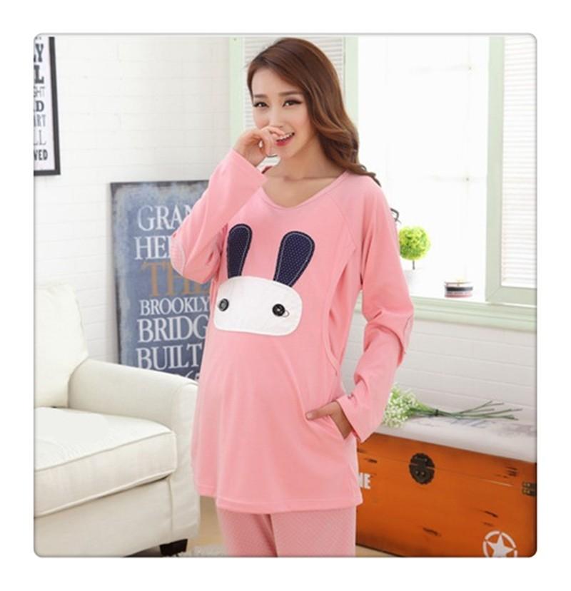 Cartoon rabbit Maternity Nurseing Pajamas (2)