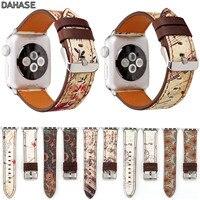 DAHASE Retro PU Lederband für für Apfel Uhr Band Stempel Musical Note Blume Armband für iWatch Serie 3 2 1 Armband