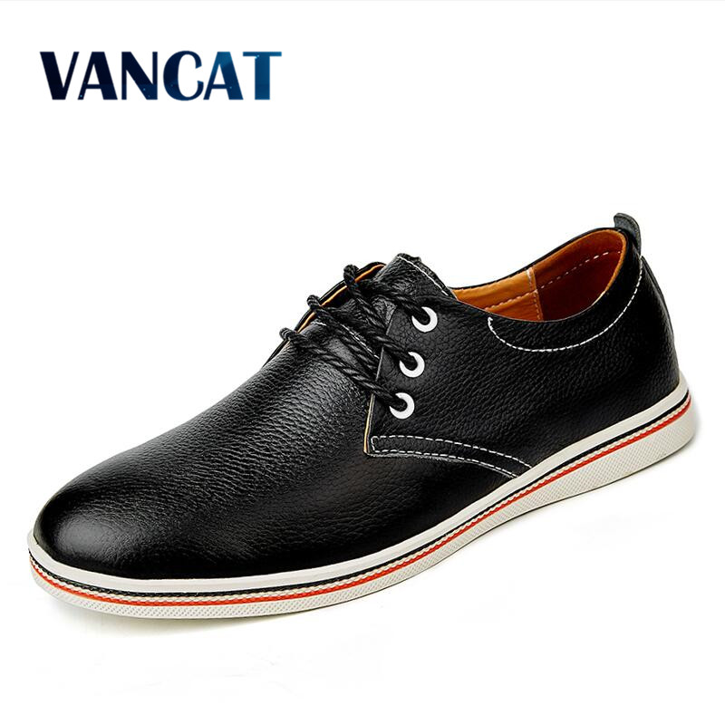 VANCAT Big Size Men Genuine Leather Shoes Fashion Casual Men Shoes Real Leather Men Flats Shoes Cheap Leather Mens Loafers genuine leather men casual shoes plus size comfortable flats shoes fashion walking men shoes