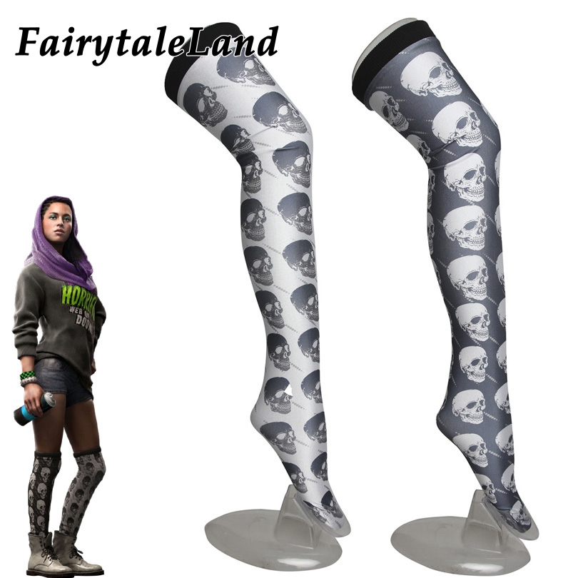 Watch Dogs 2 Sitara Cosplay Accessories Fancy Skull stockings women Cosplay Stockings Sitara Stockings