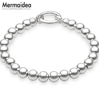 10mm 925 Sterling Silver Solid Beads Bracelets Circle Clasp Charm Bracelet Fashion DIY Pendant Bracelet Jewelry For Women Men
