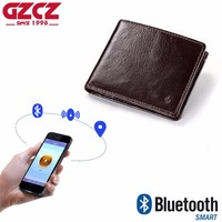 GZCZ 2018 New Men'S Genuine Leather Smart Wallet With Bluetooth Prevent Loss And Theft Male Purse Suit for IOS Android Money Bag