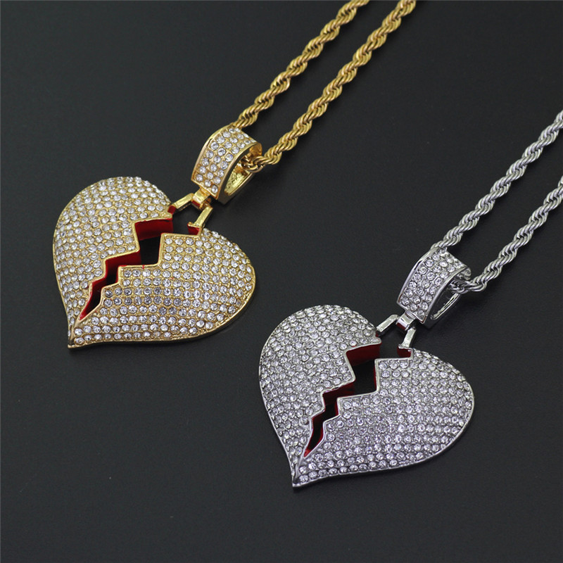 BOAKO Iced Out Broken Heart Necklace & Pendant With Twist Chain Gold Color Bling Cubic Zircon Men's Hip hop Jewelry Gift X7-M2
