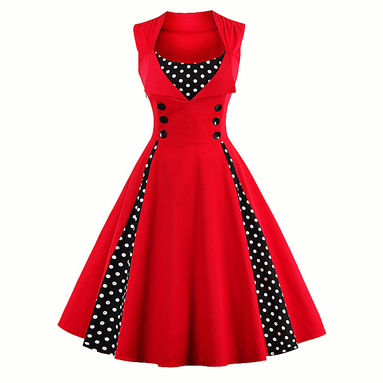 Women Sleeveless 10 Colors Vintage <font><b>Dress</b></font> Button Dot Print Swing Party Feminino Vestidos Plus Size S~4XL <font><b>Dresses</b></font> image
