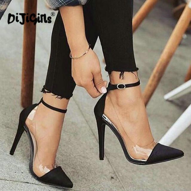 Thin high heels ankle buckle women pump ladies wedding shoes woman sapato  jelly clear chaussure bride sexy Drop Shipping c76c8ff36763