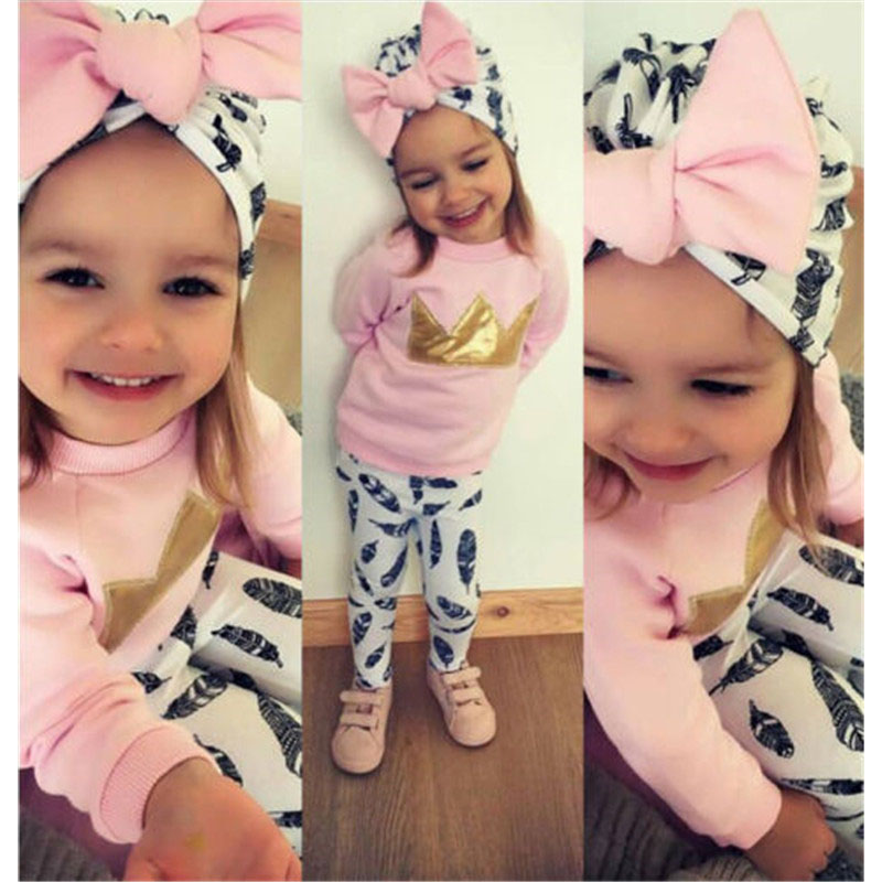Tracksuit 3Pcs Kids Baby Girl Suit Outfits Crown Hoodies Tops T-shirt+Feather Pants Children Clothes Set image