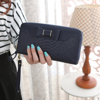 Bow-Decorated Cute Leather Women's Wristlet Bags and Wallets Hot Promotions New Arrivals Women's Wallets Color: Deep Blue