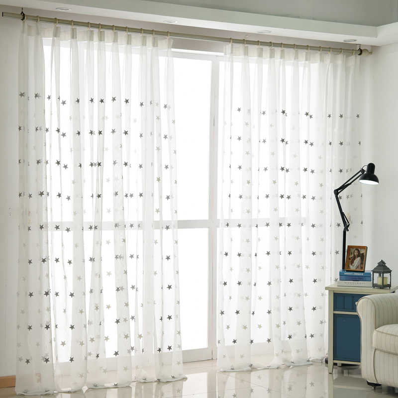 MAKEHOME 3D Stars Embroidered White Tulle Curtains for Bedroom Living Room Kitchen Sheer Curtains Kids Baby Room Door Window Cur