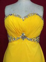 Yellow Bridesmaid Dresses Fashion Simple Sweetheart Floor length Ribbon Crystal Chiffon dress