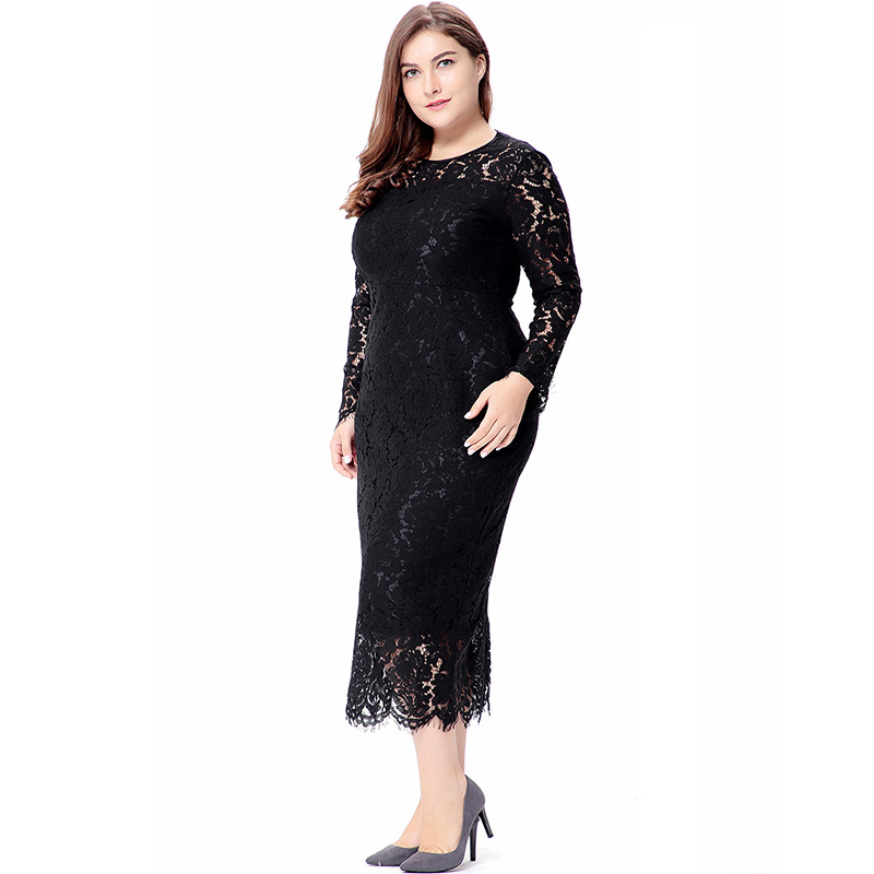 88b9a9f286e60 Clobee 2018 Spring Summer Women Lace Dress Long Sleeve Hollow Out Floral  Dress Sexy Big Bodycon Elegant Club Party Dress Robe