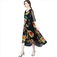 2018 Fashion New Summer Dress Women's Large Size Leisure Loose Print ing Long Dress Female V-neck Pullover J69