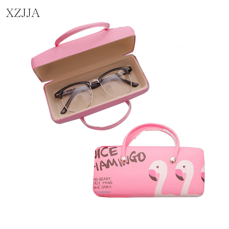 XZJJA Kawaii Flamingo Portable Glasses Boxes Case Cartoon Storage Box Organizer For Jewelry Eyewear Spectacles Container Cover