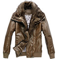 New Men's Casual Large Fuax Fur Collar PU Leather Jacket Coat Suede For Men Spring Autumn,Asia Size M-XXL,3 Colors,AW1401