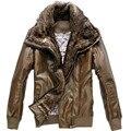 Nuevos hombres Ocasionales Grandes Fuax Cuello de Piel PU Coat Chaqueta de Cuero de Gamuza Para Hombres Otoño, Tamaño de Asia M-XXL, 3 Colores, AW1401