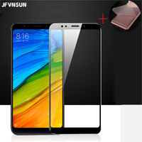 JFVNSUN Glass for Xiaomi Redmi 5 / Redmi 5 PLUS Tempered Glass 18:9 Full Cover Screen Protector + Gift Soft Back Protective Film