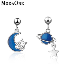 ModaOne Korean Style Women 925 Sterling Silver Stud Earrings Fashion Jewelry For Girls Blue Planet Moon Star Pendientes Mujer